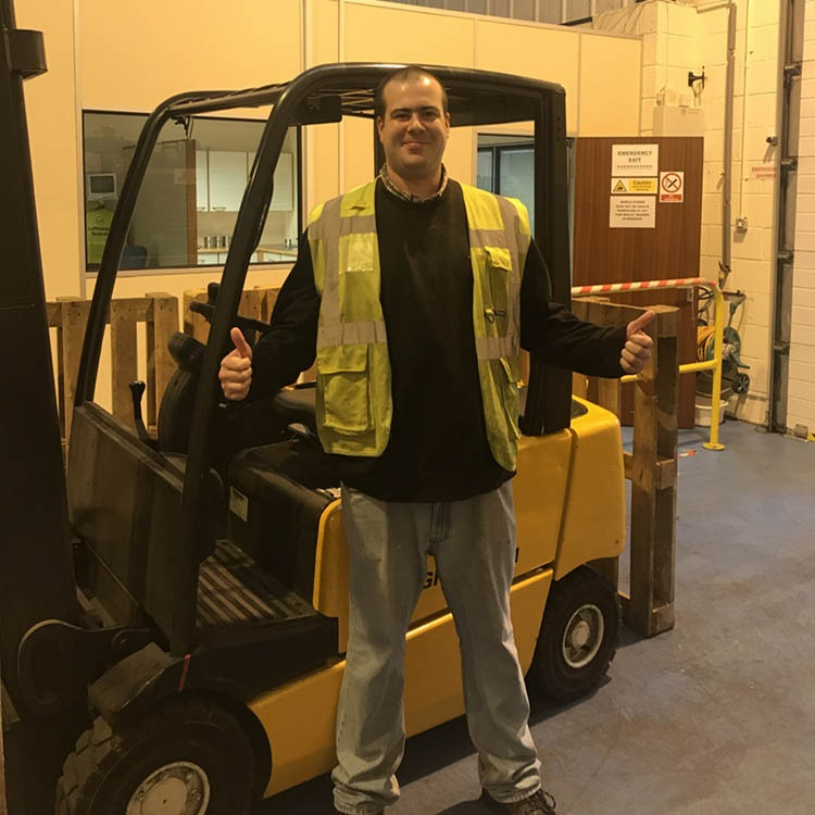 Justice Sey havin just passed his forklift test